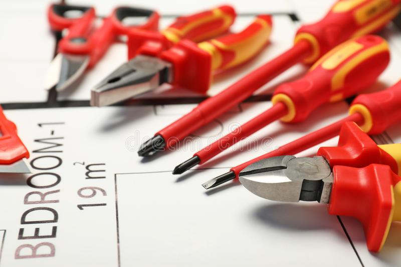 Set of electrician`s tools royalty free stock images