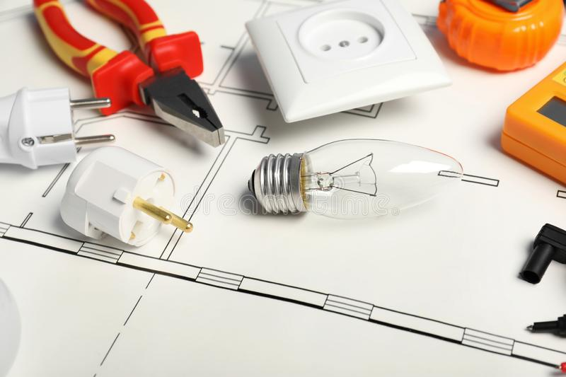 Set of electrician`s tools royalty free stock photography