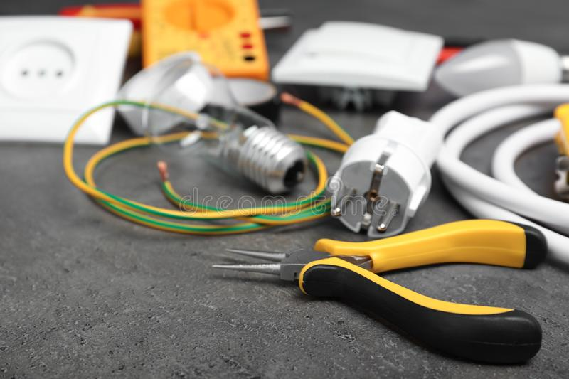 Set of electrician`s tools stock photos