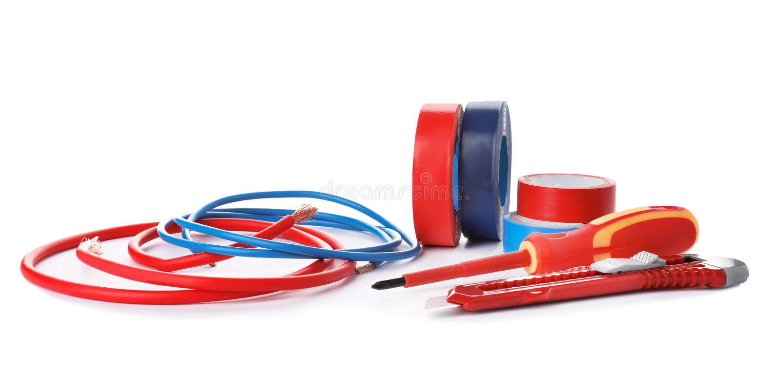 Set of electrician`s tools. On white background stock photography