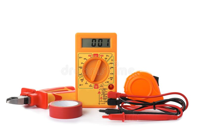 Set of electrician`s tools stock image