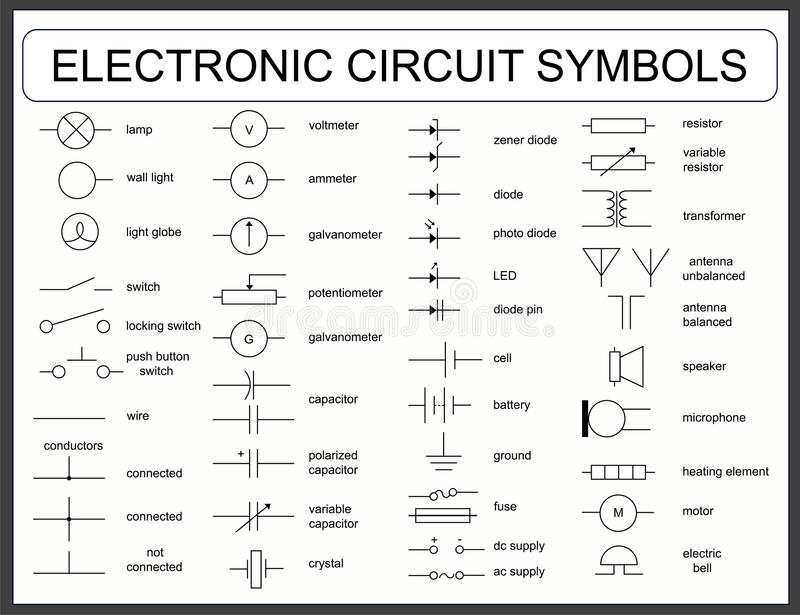 Set of electronic circuit symbols stock vector illustration of download set of electronic circuit symbols stock vector illustration of microphone integrated 77183273 malvernweather Choice Image