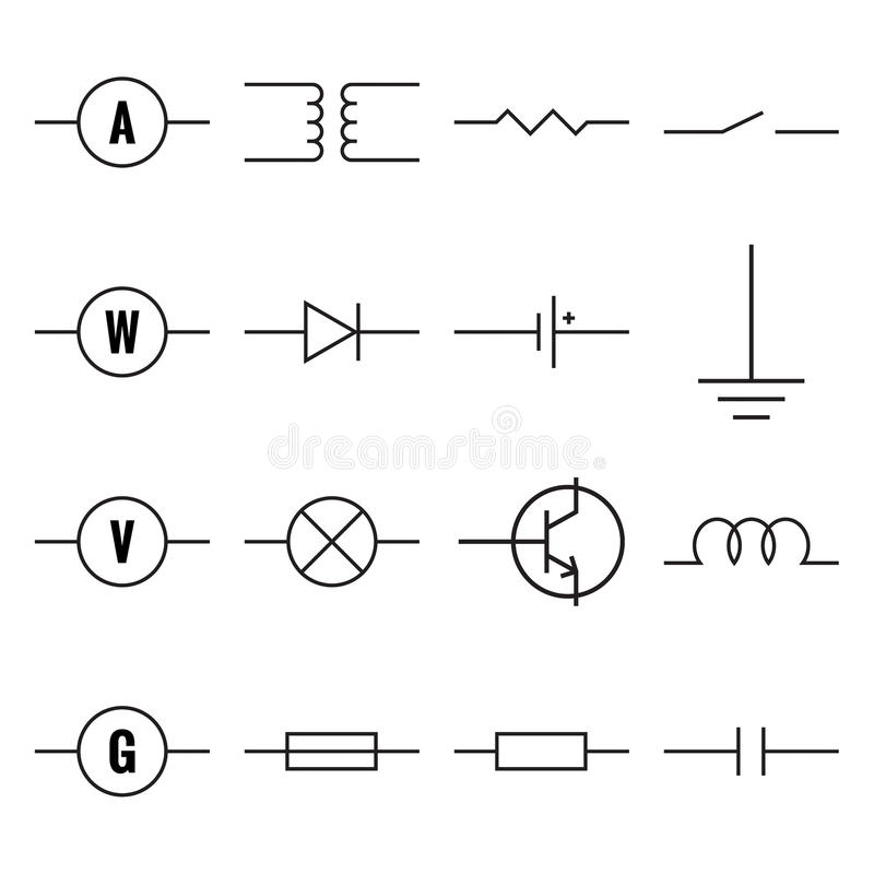 Set Of Electronic Components Stock Vector Illustration Of