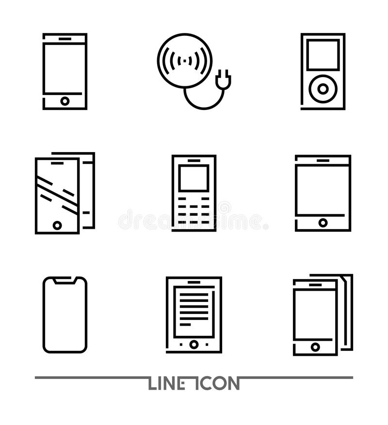 Set of Electronic Devices flat thin line Icons vector; Electronic Appliances; vector illustration
