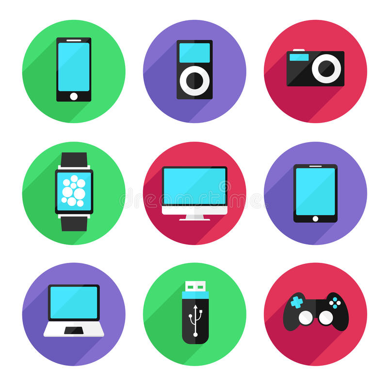 Set of electronic devices icon flat color style. Vector Illustration royalty free illustration