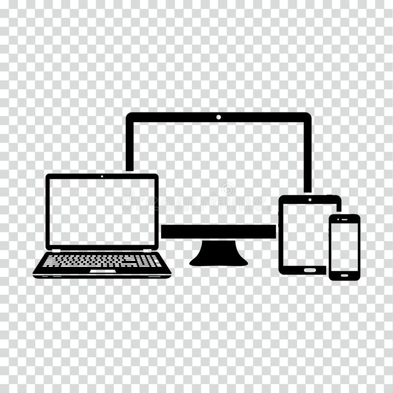 Set of electronic devices icon stock illustration