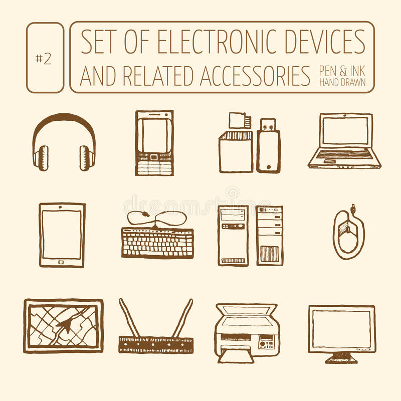 Set of electronic devices. Icons set of electronic devices. Hand drawn, pen and ink. Line art. Vector icons electronic royalty free illustration