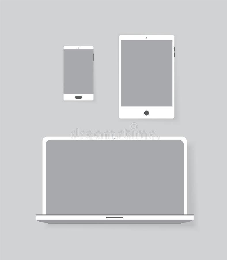 Set of electronic equipment: notebook, tablet and smartphone vector graphic stock illustration