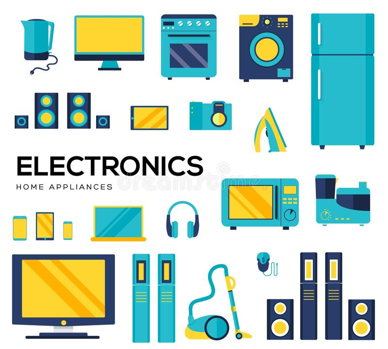 Set of household appliances and electronic devices icons. Set of electronics flat colorful icons isolated on white background. Devices using at home in everyday stock illustration