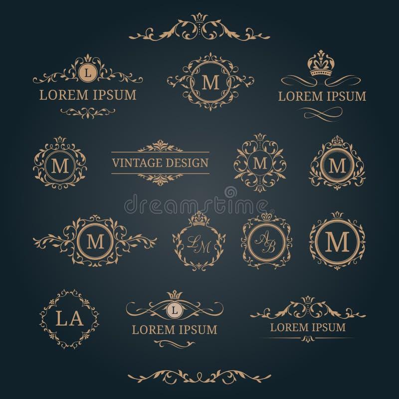 Set eleganccy kwieciści monogramy i dekoracyjni elementy ilustracja wektor
