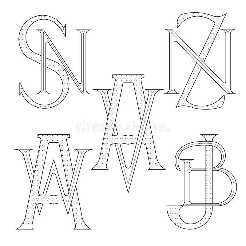 Set eleganccy monogramy z dwa listami ilustracji