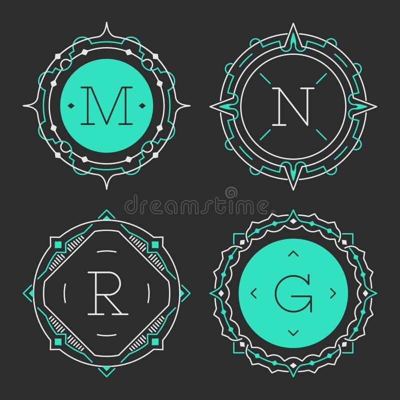 Set eleganccy pełen wdzięku monograma emblemata szablony również zwrócić corel ilustracji wektora ilustracja wektor