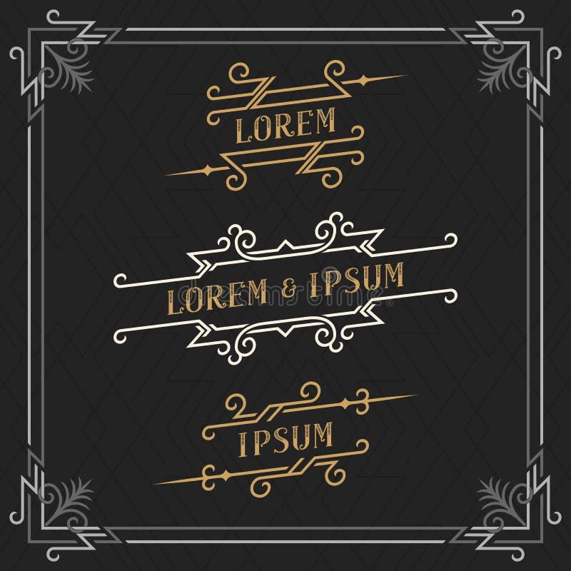 Set eleganccy roczników emblematów szablony Luksusowy retro biznesu znak, tożsamość, etykietka royalty ilustracja