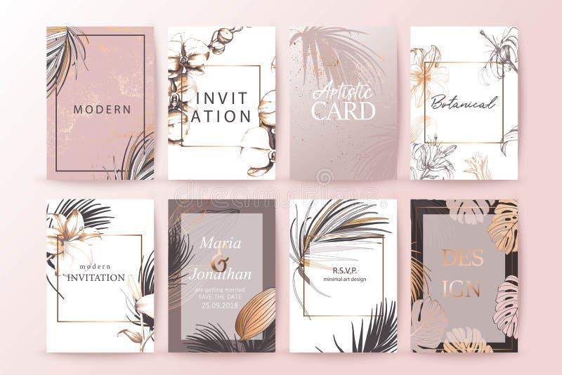 Set elegancka modna broszurka, pokrywy, karty z egzotycznymi palmowymi li??mi, z?ocista tekstura Po?lubiaj?cy, opr?cz daktylowego ilustracji
