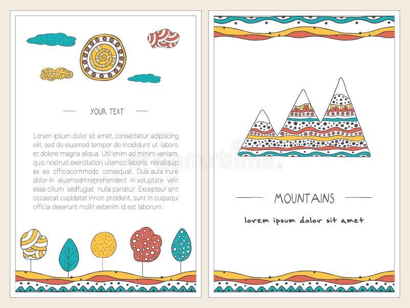 Set elegancki, ręka rysujący karta projekt Wektorowi tła z górami, drzewami, słońcem i wzgórzami, royalty ilustracja