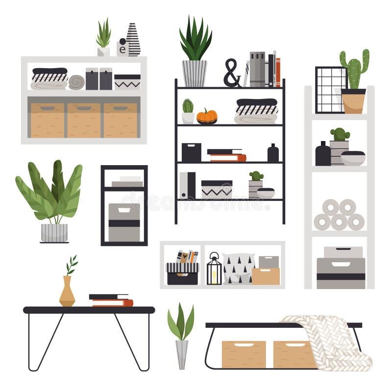 Set eleganckie nowożytne półki, stojaki, stoły i wezgłowie stoły w skandynawie, projektujemy Minimalistic meble ilustracji