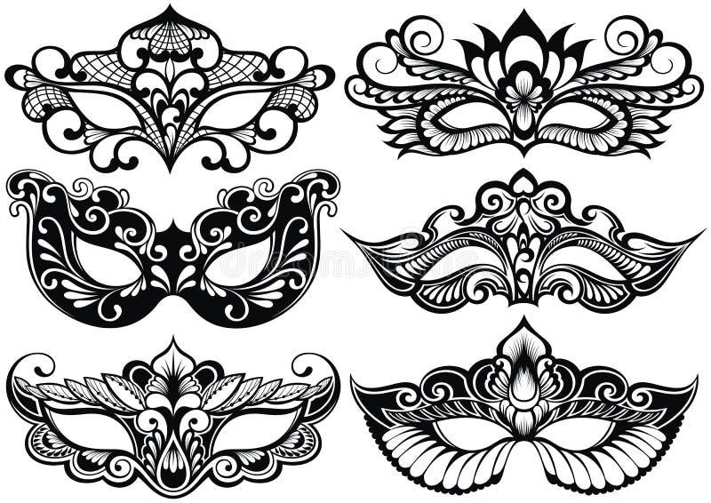 Set eleganckie twarzy maski dla przyjęcia ilustracji