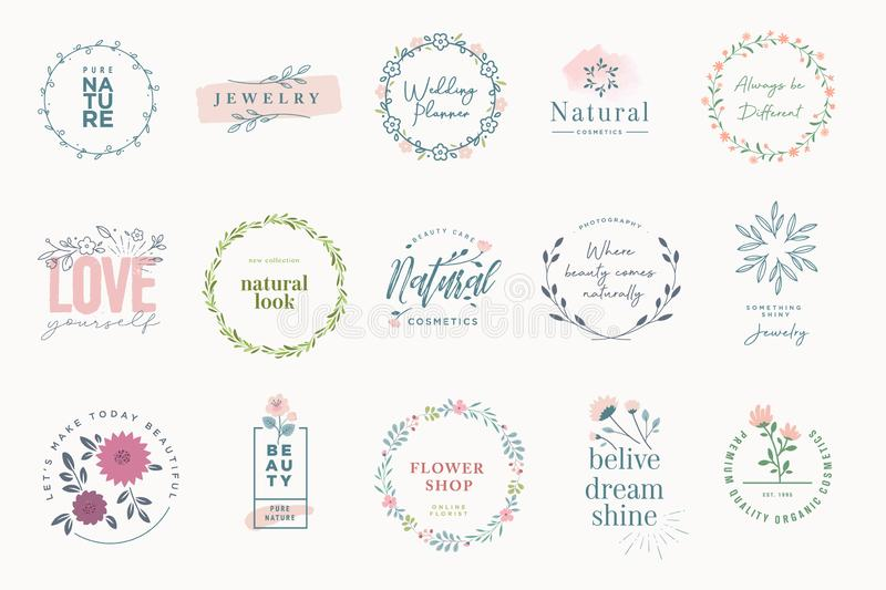 Set of elegant badges for beauty. Natural and organic products, cosmetics, spa and wellness, fashion, jewelry, wedding. Vector illustrations for graphic and royalty free illustration
