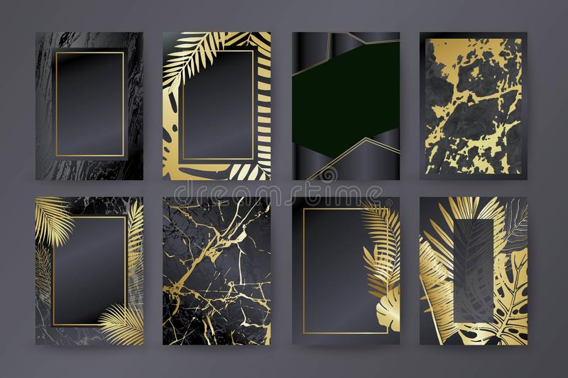 Set of elegant brochure, card, background, cover. Black and golden marble texture. Palm, exotic leaves. vector illustration