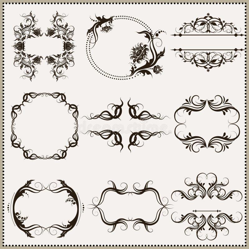 Set of elegant calligraphic frames stock vector
