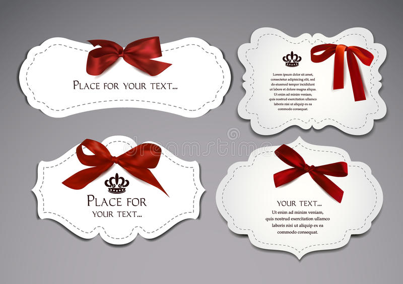 Set of elegant cards with red silk bows royalty free illustration
