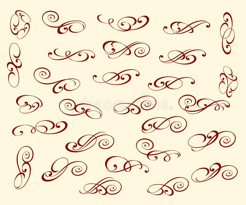 Set elegant decorative elements. Vector illustration. stock illustration