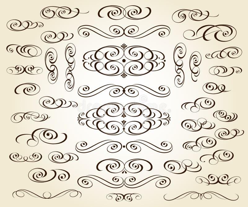Set of elegant decorative elements. Vector illustration. stock illustration