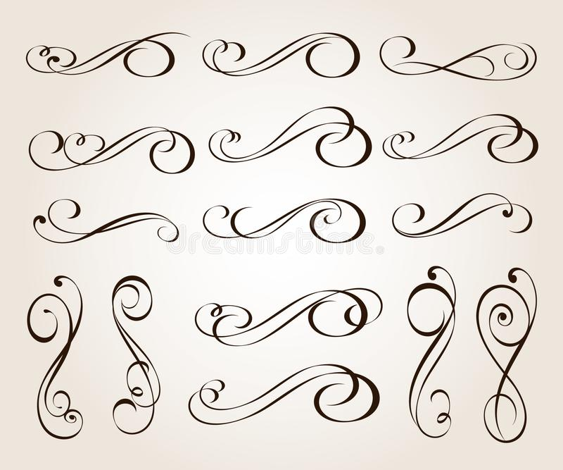 Set of elegant decorative scroll elements. Vector illustration.Black stock illustration