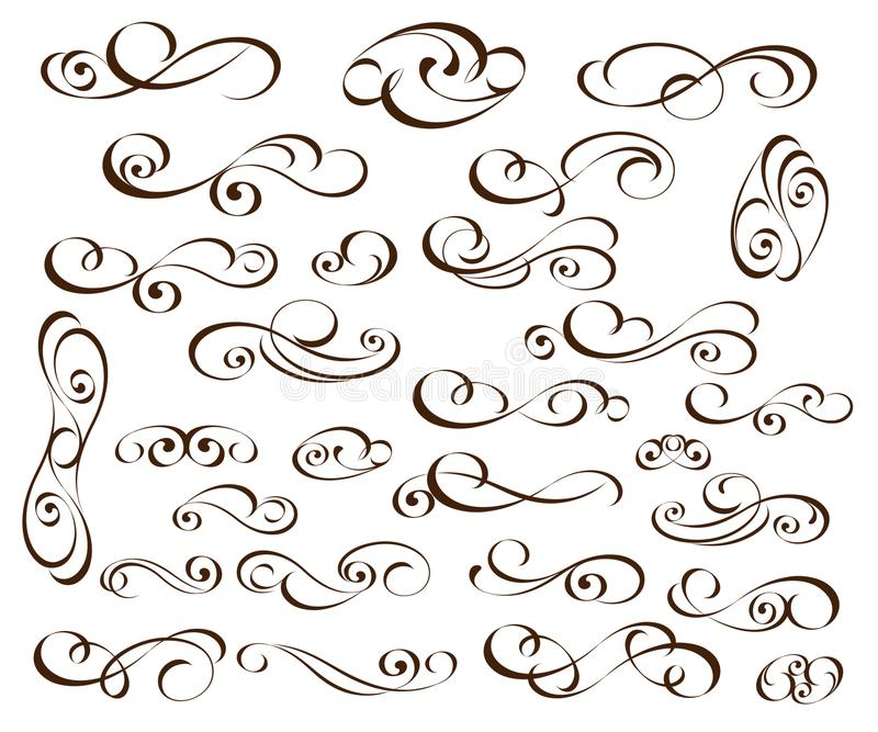 Set of elegant decorative scroll elements. Vector illustration.Black vector illustration