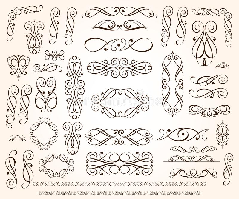 Set of elegant decorative scroll elements. Vector illustration.Black stock illustration