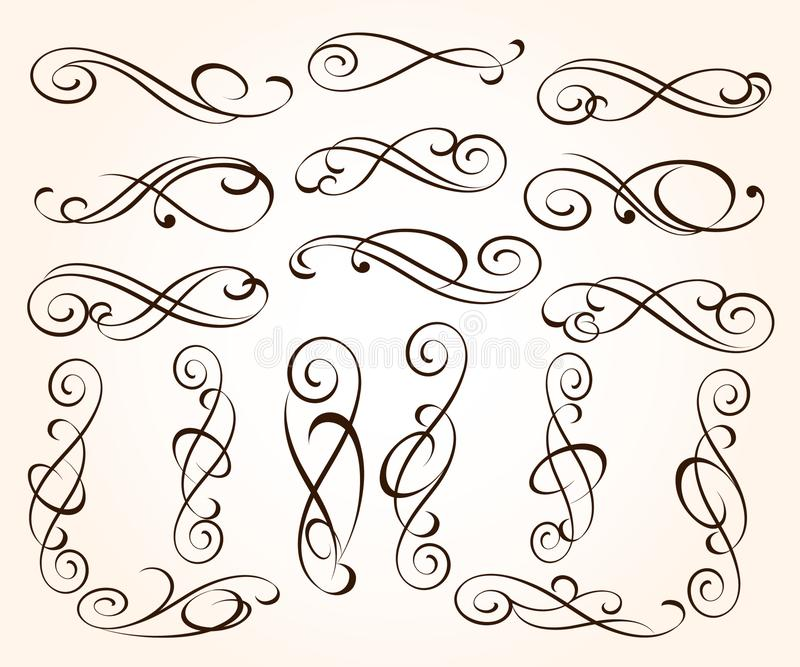 Set of elegant decorative scroll elements. Vector illustration.Black royalty free illustration