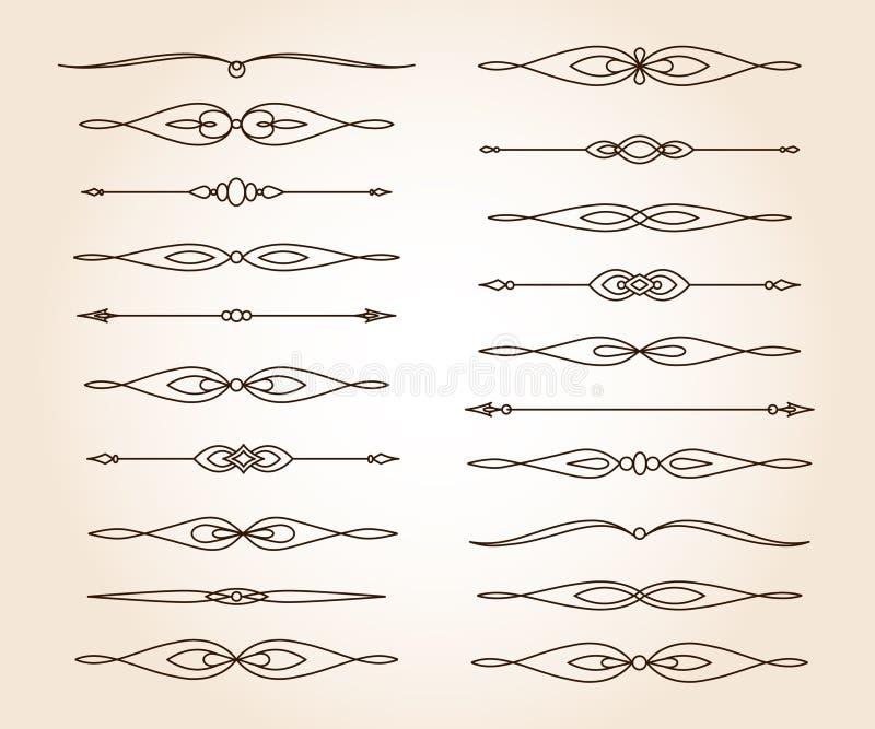 Set  elegant decorative scroll elements. Vector . Vector illustration.Brown stock illustration