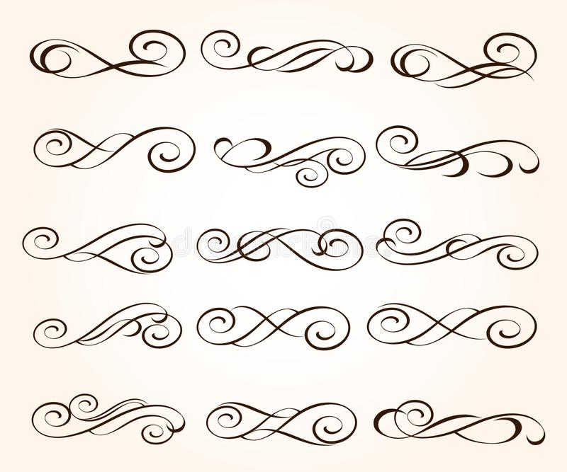 Set elegant decorative scroll elements. Vector illustration. stock illustration