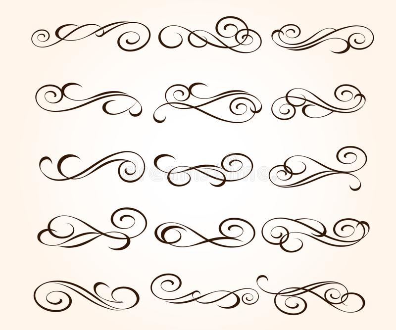 Set elegant decorative scroll elements. Vector illustration. vector illustration
