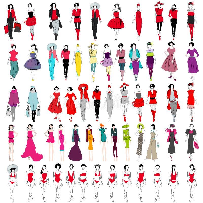 Download Set of elegant girls stock vector. Illustration of artistic - 25849233