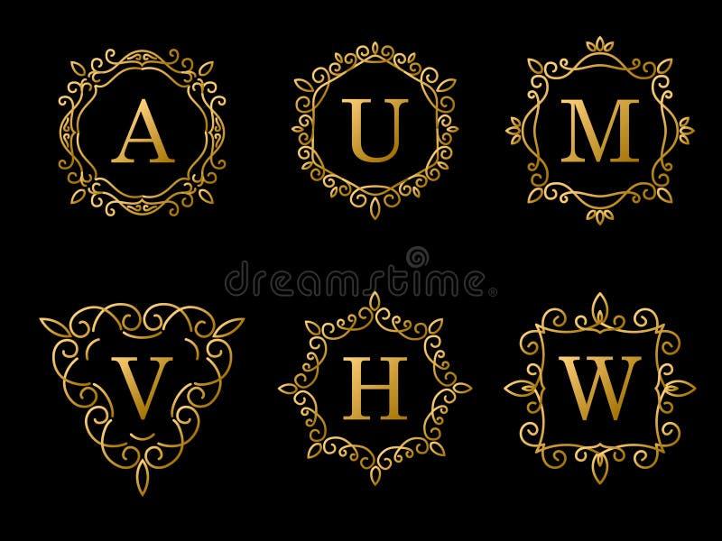 Set of elegant gold monogram design on black background. Vector royalty free illustration