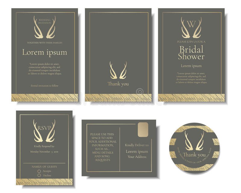 Set Of Elegant Golden Wedding Invitation Card.Golden Antler Style ...