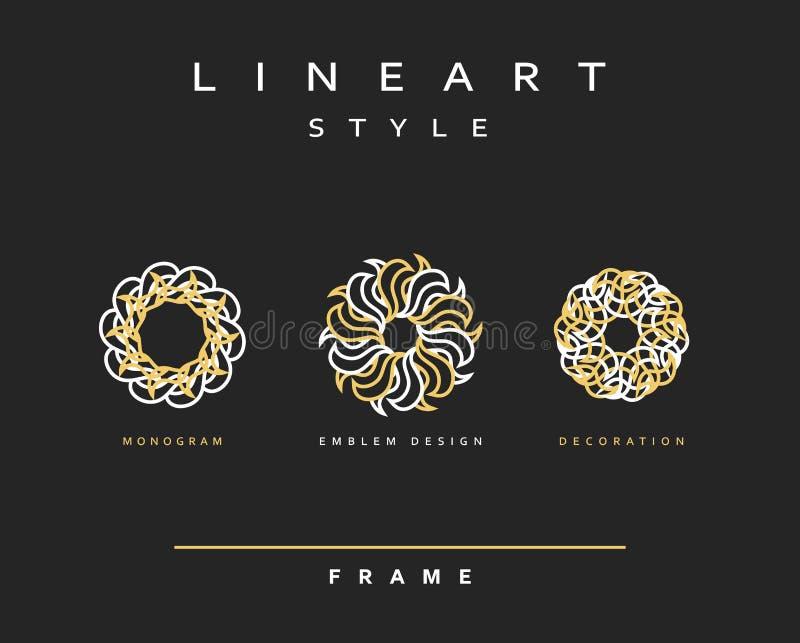 Set of elegant line art design. Monogram design element royalty free illustration