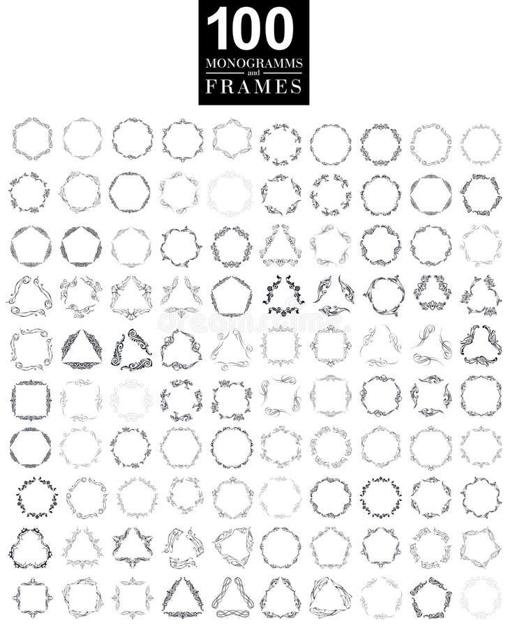 Set of elegant monogram design. Vector illustration. stock illustration