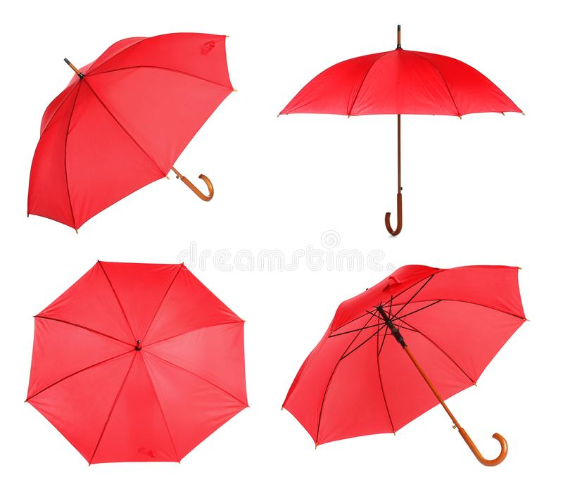 Set with elegant red umbrella from different views. On white background royalty free stock photos