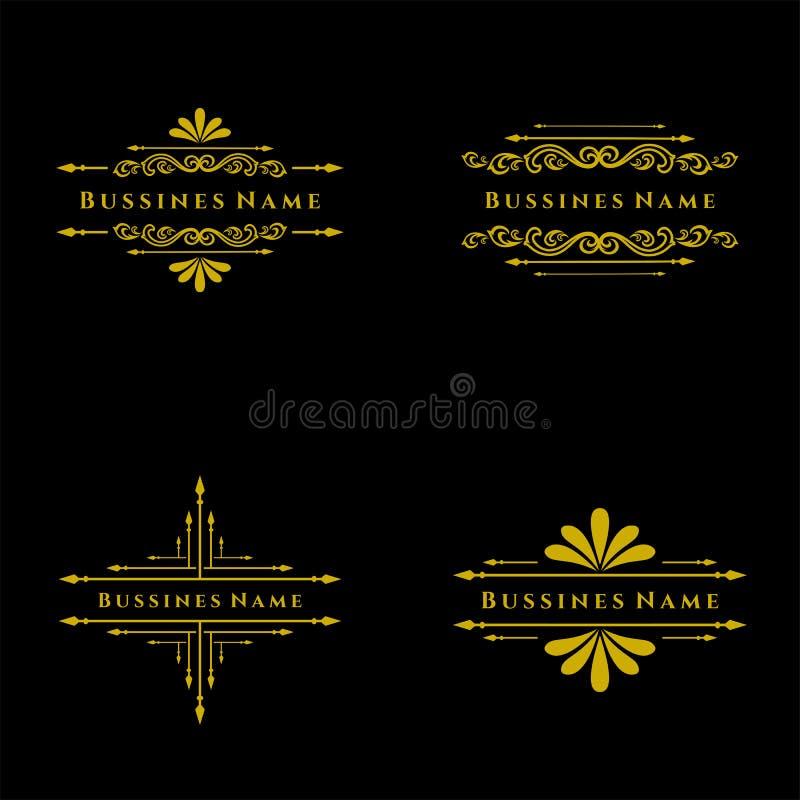 Set of Elegant retro flourish decor. Retro Vintage Insignias or Logotypes. Vector design elements, business signs, logos, label. Elegant retro flourish decor vector illustration