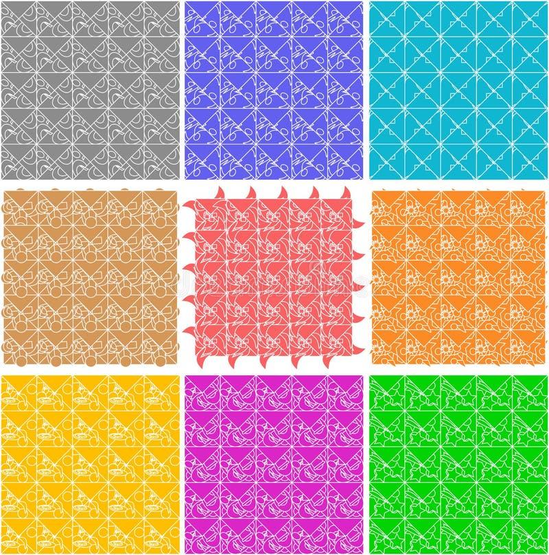 Set Of Elegant Retro Seamless Patterns Stock Photos