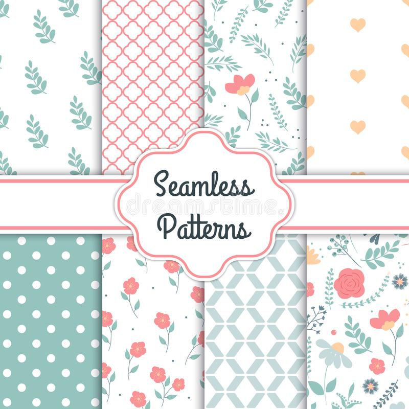 Set of 8 elegant seamless patterns with decorative flowers, design elements. Floral patterns for wedding invitations, greeting car royalty free illustration