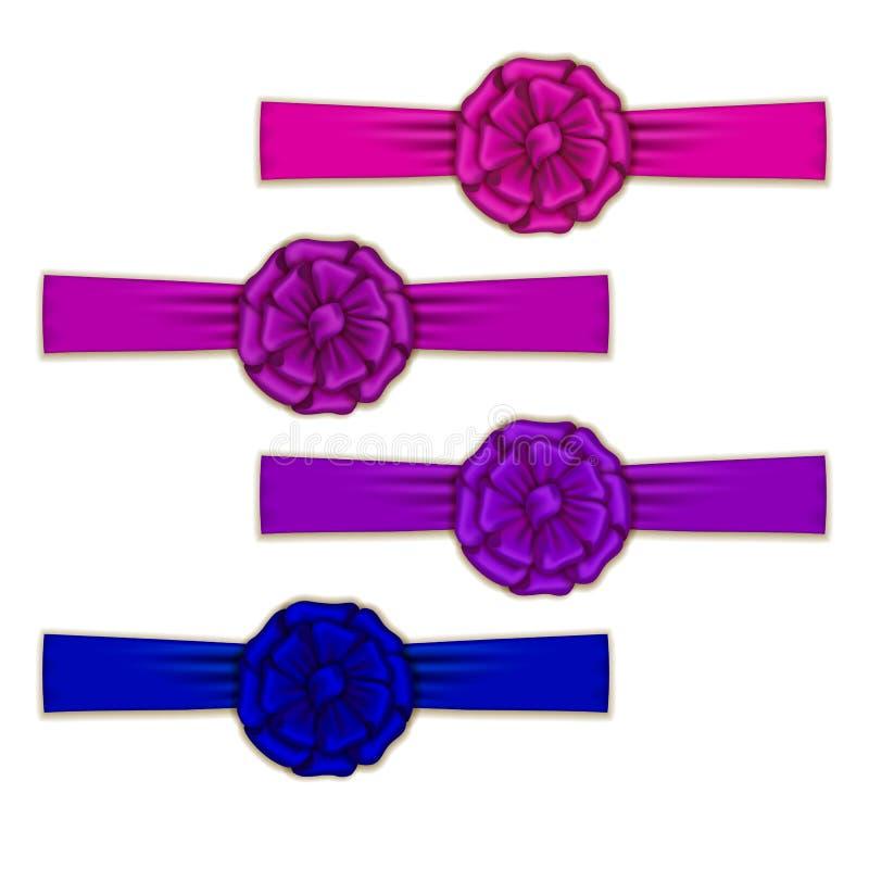 Set of elegant silk colored bows. For design. Vector illustration EPS10 stock illustration