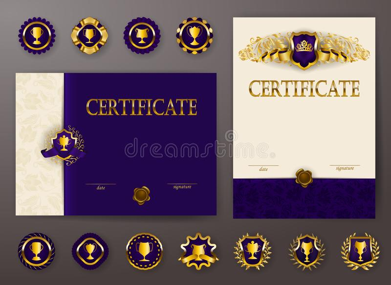 Set of elegant templates of diploma with lace ornament, ribbon, wax seal, drapery fabric, badges, place for text vector illustration