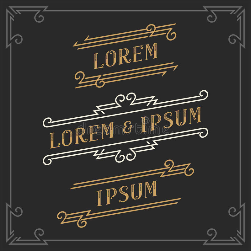 The set of elegant vintage emblems and logos templates. stock illustration