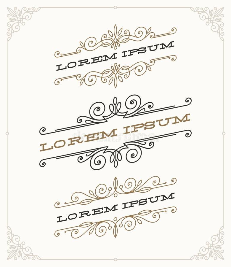Set of elegant vintage ornamental emblems vector illustration