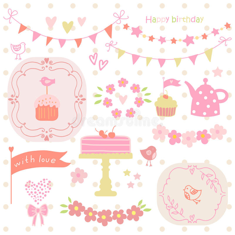 Set of elements for birthday party, greeting cards. Cake, cupcake, kettle, bird, garland. vector illustration