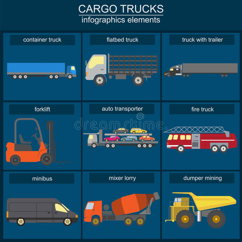 Set of elements cargo transportation: trucks, lorry for creating. Your own infographics or maps. Vector illustration royalty free illustration