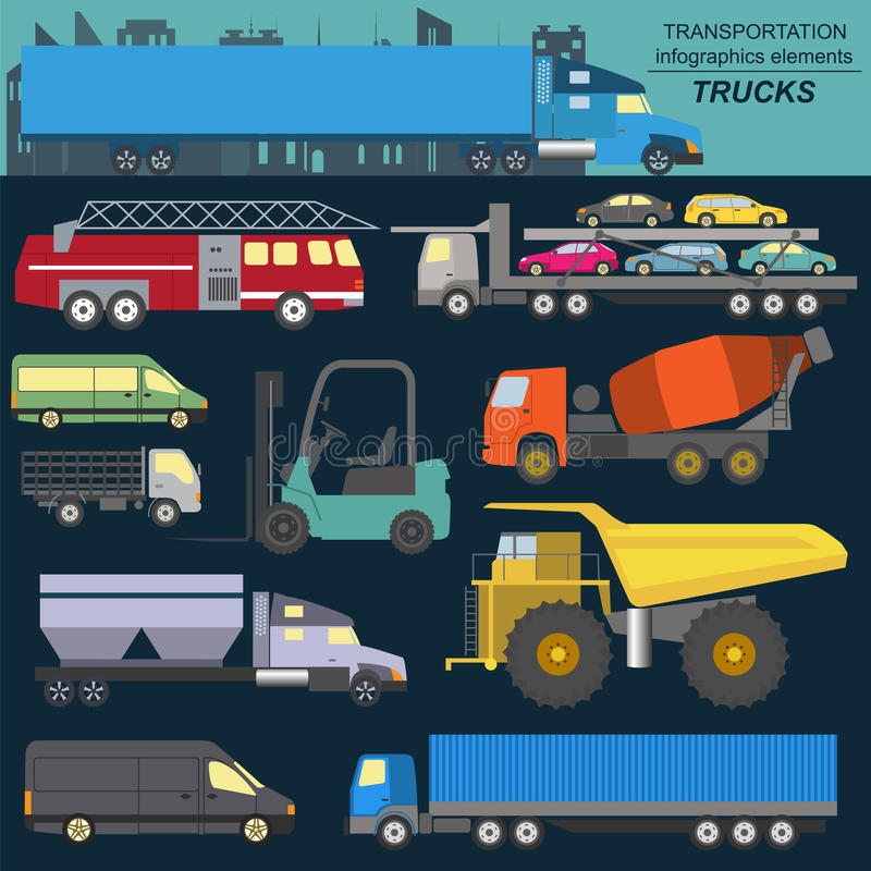 Set of elements cargo transportation: trucks, lorry for creating. Your own infographics or maps. Vector illustration vector illustration